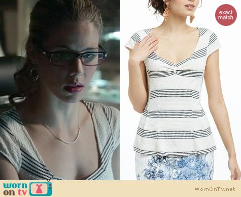 Arrow Fashion: Anthropologie textured peplum tee worn by Emily Bett Rickards