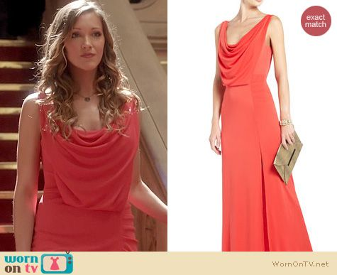 Arrow Fashion: BCBGMAXAZRIA Lena Draped Gown worn by Katie Cassidy