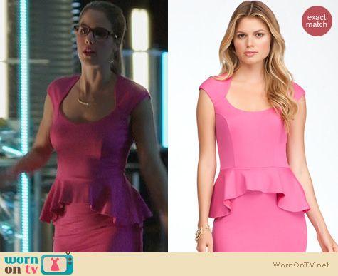 Arrow Fashion: Bebe Mariah Dress in pink worn by Emily Bett Rickards