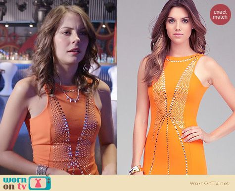 Arrow Fashion: Bebe Orange Studded Open Back Dress worn by Willa Holland