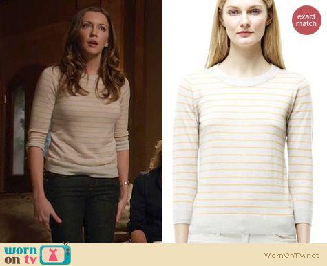 Arrow Fashion: Club Monaco Riley striped crewneck sweater worn by Katie Cassidy