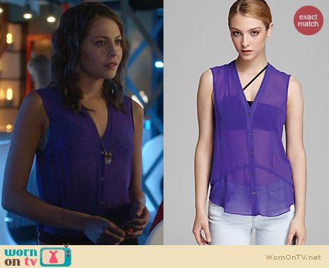 Arrow Fashion: Helmut Lang Ghost Silk Button Down in Viola worn by Willa Holland