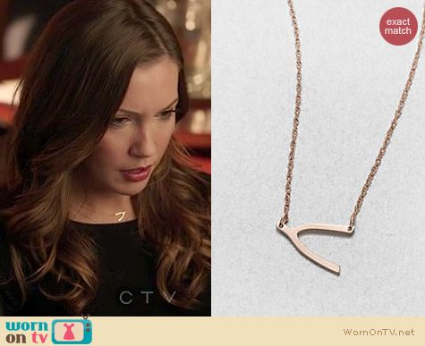 Arrow Fashion: Jennifer Zeuner wishbone pendant necklace worn by Katie Cassidy