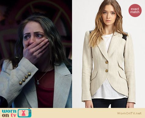 Arrow Fashion: Smythe Equestrian leather elbow patch blazer worn by Willa Holland