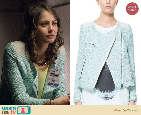 Arrow Fashion: Zara Ethnic Jacquard Pattern Zip Jacket worn by Willa Holland