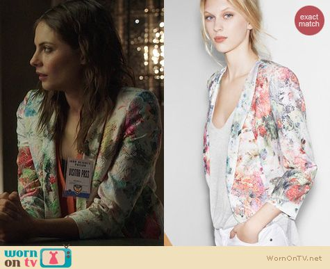 Fashion of Arrow: Zara floral blazer worn by Willa Holland