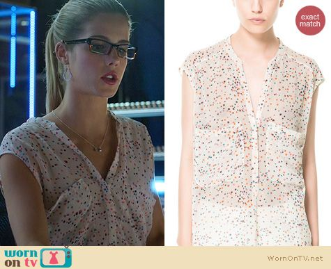 Arrow fashion: Zara Oversized Polka Dot Shirt worn by Emily Bett Rickards