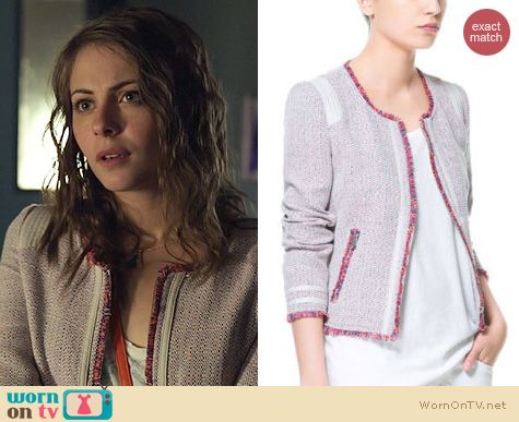 Arrow Fashion: Zara tweed fringed neon trim jacket worn by Willa Holland