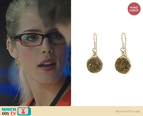 Arrow Jewelry: Peggy Li Small Drusy Earrings worn by Emily Bett Rickards