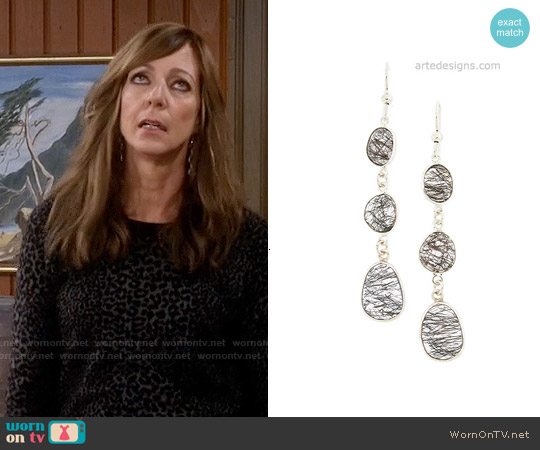 Arte Designs 3 Stone Black Rutilated Quartz Earrings worn by Allison Janney on Mom