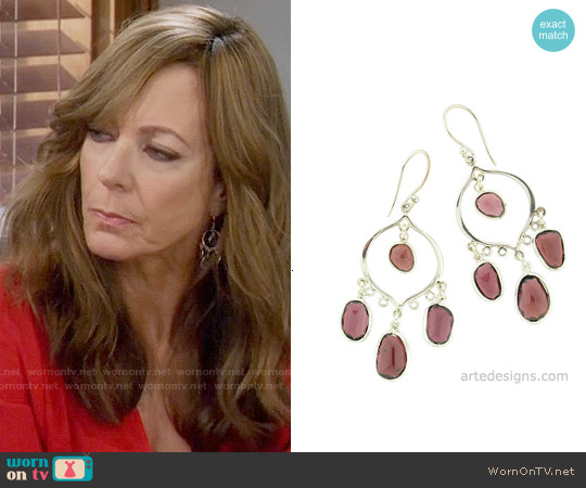 Arte Designs Abstract Garnet Chandelier Earrings worn by Bonnie Plunkett on Mom