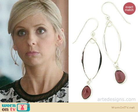 Arte Designs Abstract Garnet Link Earrings worn by Sarah Michelle Gellar on The Crazy Ones