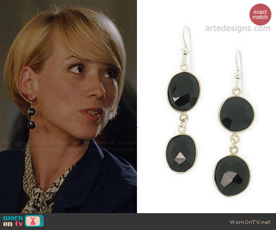 Arte Designs Black Spinel Earrings worn by Karine Vanasse on Revenge