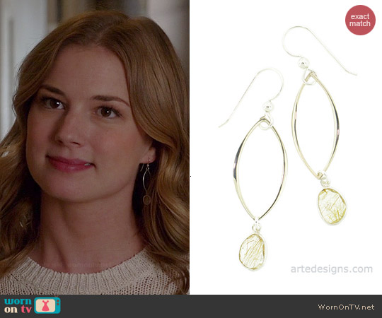 Arte Designs Golden Rutilated Quartz Link Earrings worn by Emily VanCamp on Revenge