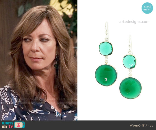 Arte Designs Green Onyx and Quartz Earrings worn by Allison Janney on Mom