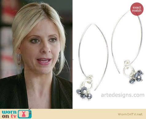 Arte Designs Mystic Sapphire Sliver Earrings worn by Sarah Michelle Gellar on The Crazy Ones