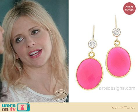 Arte Designs Pink Tourmaline Gemstone Earrings worn by Sarah Michelle Gellar on The Crazy Ones