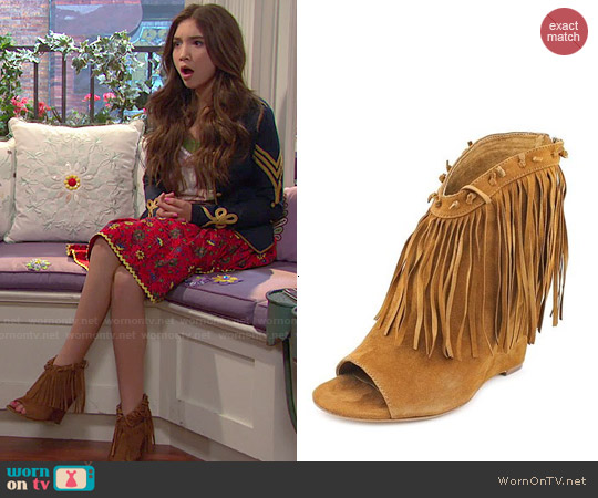 Ash 'Janis' Open Toe Suede Wedges in Cookie worn by Riley Matthews on Girl Meets World