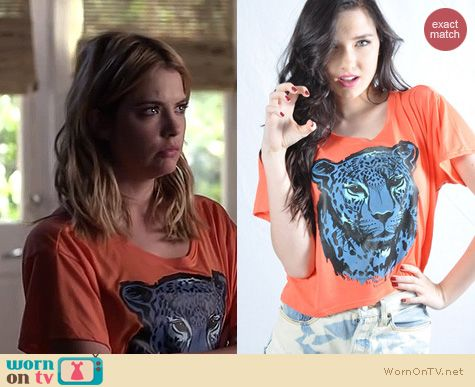 Ashley Benson Fashion: Royal Rabbit Big Cat Blue Cat Boxy tee worn on PLL