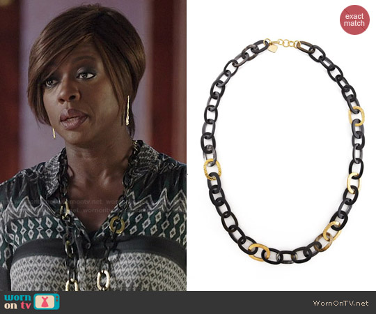 Ashley Pittman Bronze & Horn Link Mara Necklace worn by Viola Davis on HTGAWM