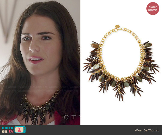 Ashley Pittman Majani Quill Necklace worn by Karla Souza on HTGAWM