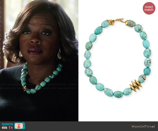 Ashley Pittman Yai Turquoise Necklace worn by Viola Davis on HTGAWM