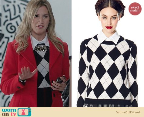 Ashley Tisdale Style: Alice & Olivia Iticks Argyle Sweater worn on The Crazy Ones