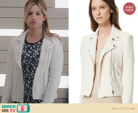 Ashley Tisdale Fashion: Rebecca Taylor Boucle Moto Jacket worn on The Crazy Ones