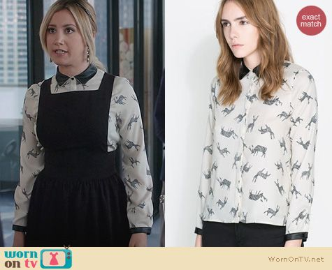 Ashley Tisdale Fashion: Zara Fawn Print Shirt worn on The Crazy Ones