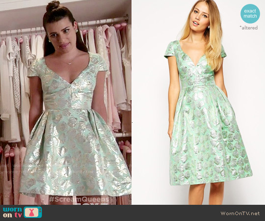 ASOS Deep Plunge Metallic Prom Dress worn by Lea Michele on Scream Queens