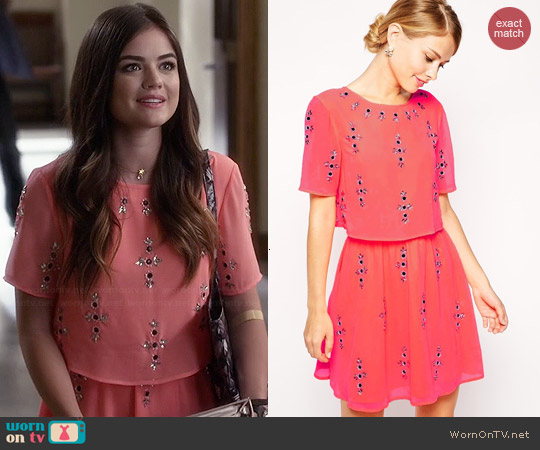 ASOS Fluro Crop Top Embellished Skater Dress worn by Lucy Hale on PLL