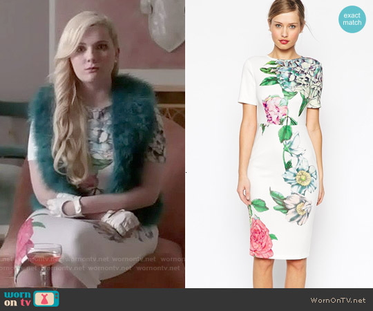 ASOS Premium Placed Crayon Floral Bodycon Dress worn by Abigail Breslin on Scream Queens