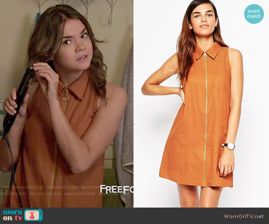 ASOS Sleeveless Zip Through Shirt Dress in Rust worn by Maia Mitchell on The Fosters