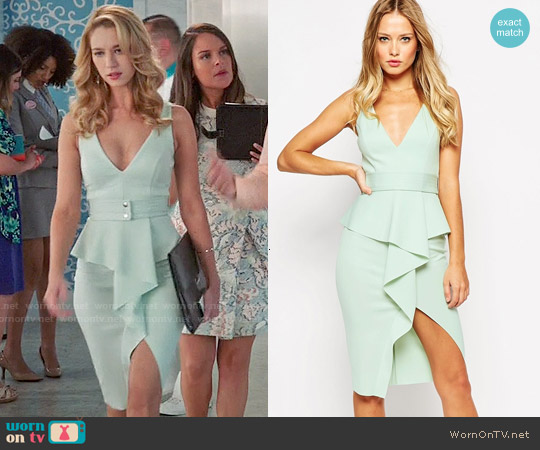 ASOS Soft Peplum Wrap With Stitch Detail Belt Dress worn by Yael Grobglas on Jane the Virgin