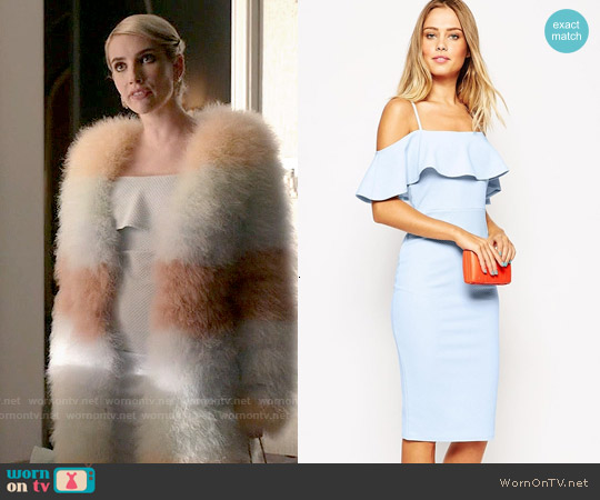 ASOS Textured Frill Midi Body-Conscious worn by Emma Roberts on Scream Queens