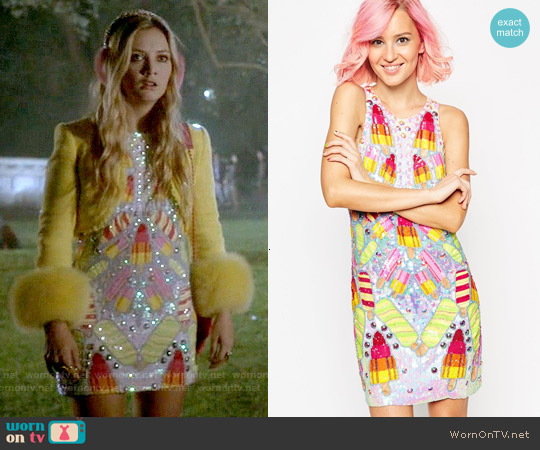 ASOS WALLS Embellished Mini Dress worn by Billie Lourd on Scream Queens