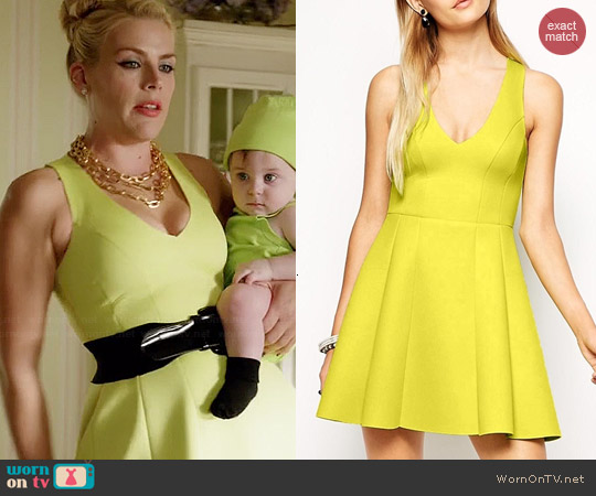 ASOS Bonded Raw Edge Lime Skater Dress worn by Busy Philipps on Cougar Town