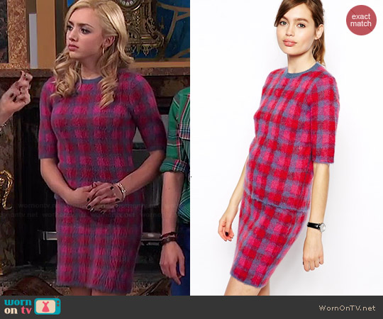 ASOS Co-ord Check Sweater and Skirt in Brushed Mohair Check worn by Peyton List on Jessie