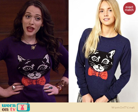 ASOS Clive The Cat Sweater worn by Kat Dennings on 2 Broke Girls