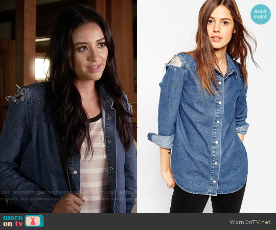 ASOS Denim Midwash Shirt With Rips worn by Shay Mitchell on PLL