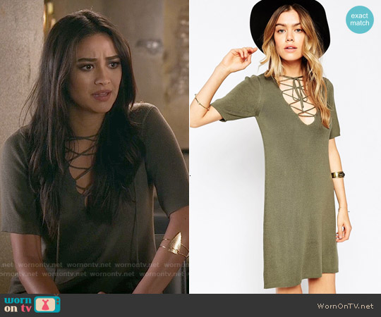ASOS Lace-Up A-Line Dress in Knit worn by Shay Mitchell on PLL