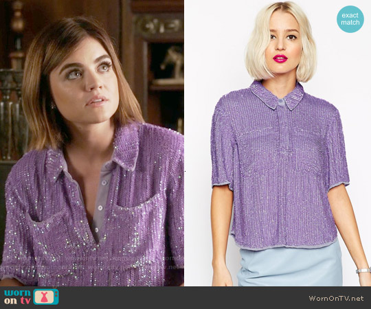 ASOS Sequin T-shirt worn by Lucy Hale on PLL