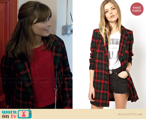 ASOS Reclaimed Vintage Check Coat worn by Jenna Coleman on Doctor Who