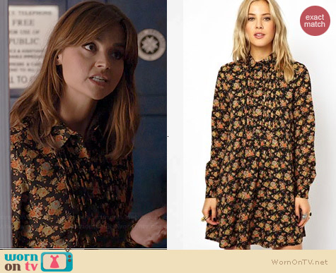 ASOS Shirt Dress in Floral Print worn by Jenna Coleman on Doctor Who