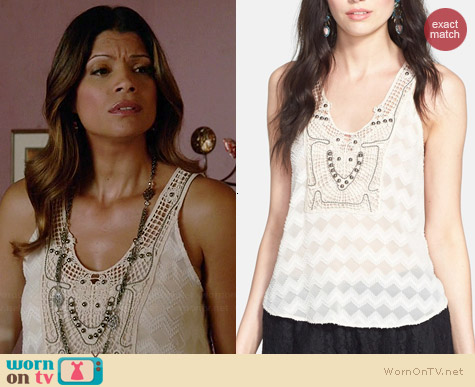 ASTR Embellished Crochet Tank worn by Andrea Navedo on Jane the Virgin