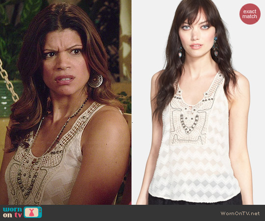 ASTR Embellished Crochet Tank worn by Andrea Calvano on Jane the Virgin