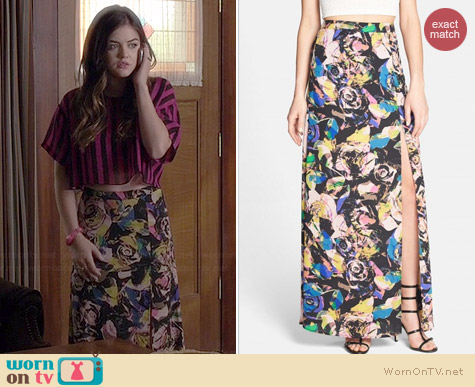 ASTR Floral Maxi Skirt worn by Lucy Hale on PLL