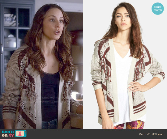 ASTR Fringe Open Cardigan worn by Troian Bellisario on PLL