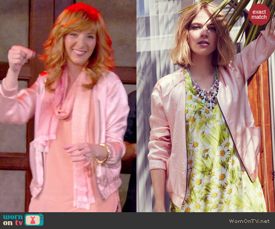 ASTR Satin Bomber Jacket worn by Lisa Kudrow on The Comeback