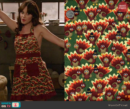 Auntie Chris Watercolor Turkeys Thanksgiving Fabric Custom Made Apron worn by Zooey Deschanel on New Girl